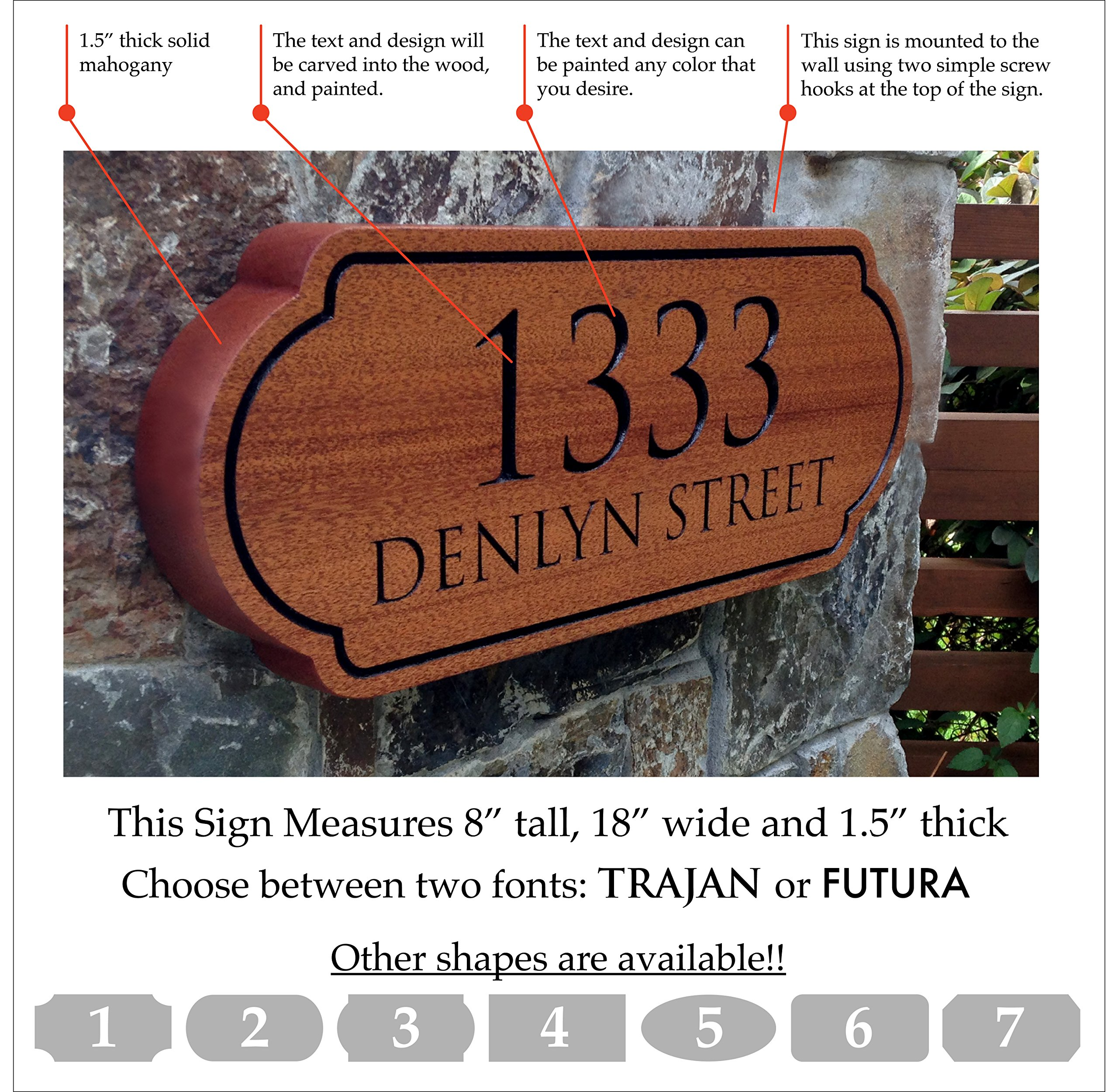 Wooden Address Sign. Made from Solid Mahogany!