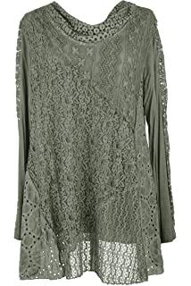 LADIES NEW ITALIAN LAGENLOOK LACE COLD SHOULDER CROTCHET TUNIC TOP 12-18 FIT