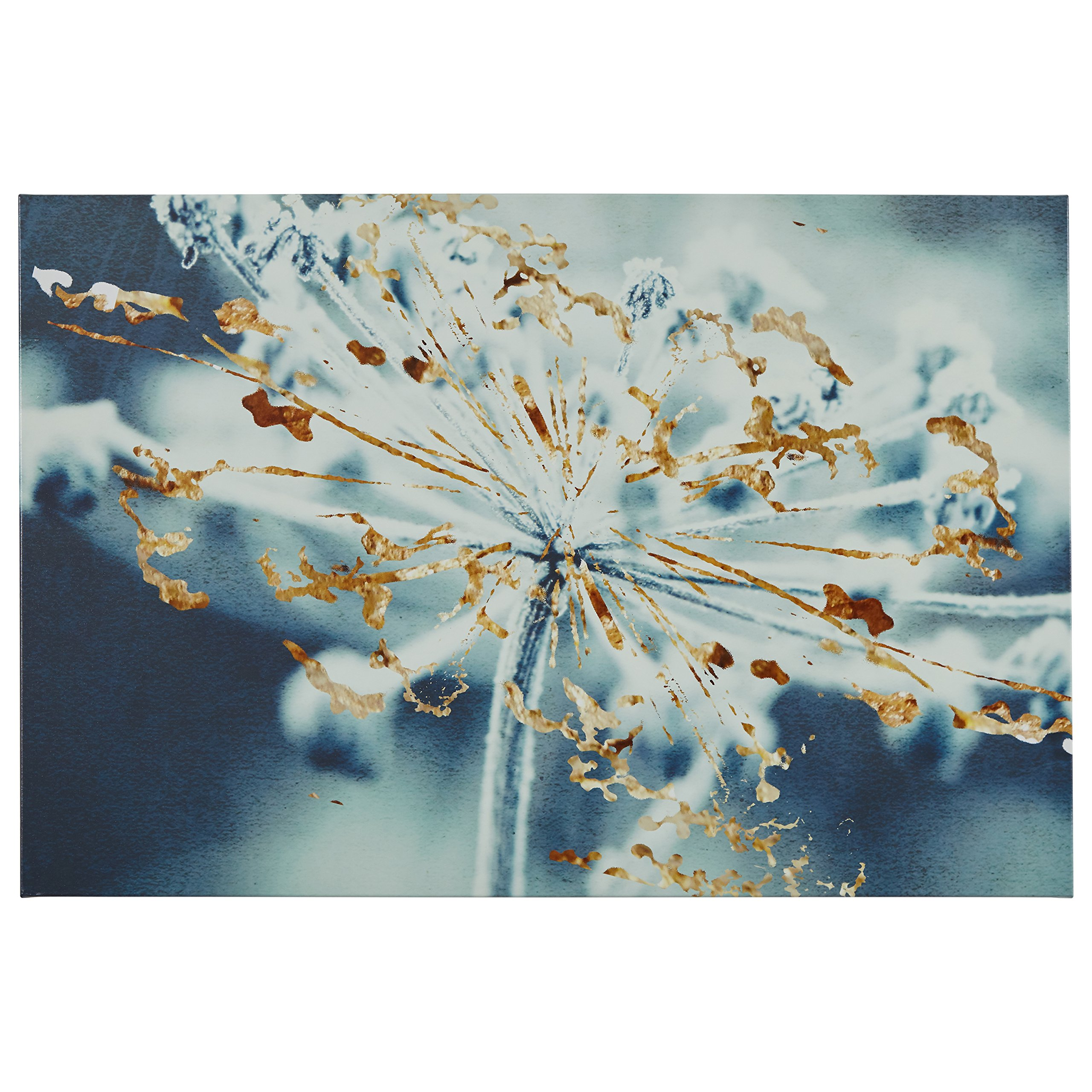 Turquoise Blue and Gold Metallic Flower Duotone Photo Print, 45'' x 30'' by Rivet