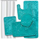 Effiliv Bathroom Rugs Set 5 Piece Memory Foam Mats + Eva Shower Liner, Extra Soft Anti-Slip Shower Large Bath Rugs – Happy Feet, Happy Life, Teal
