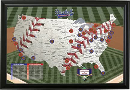 Push Pin Travel Maps Personalized Baseball Adventures with Black Frame and Pins - 27.5 inches x 39.5 inches