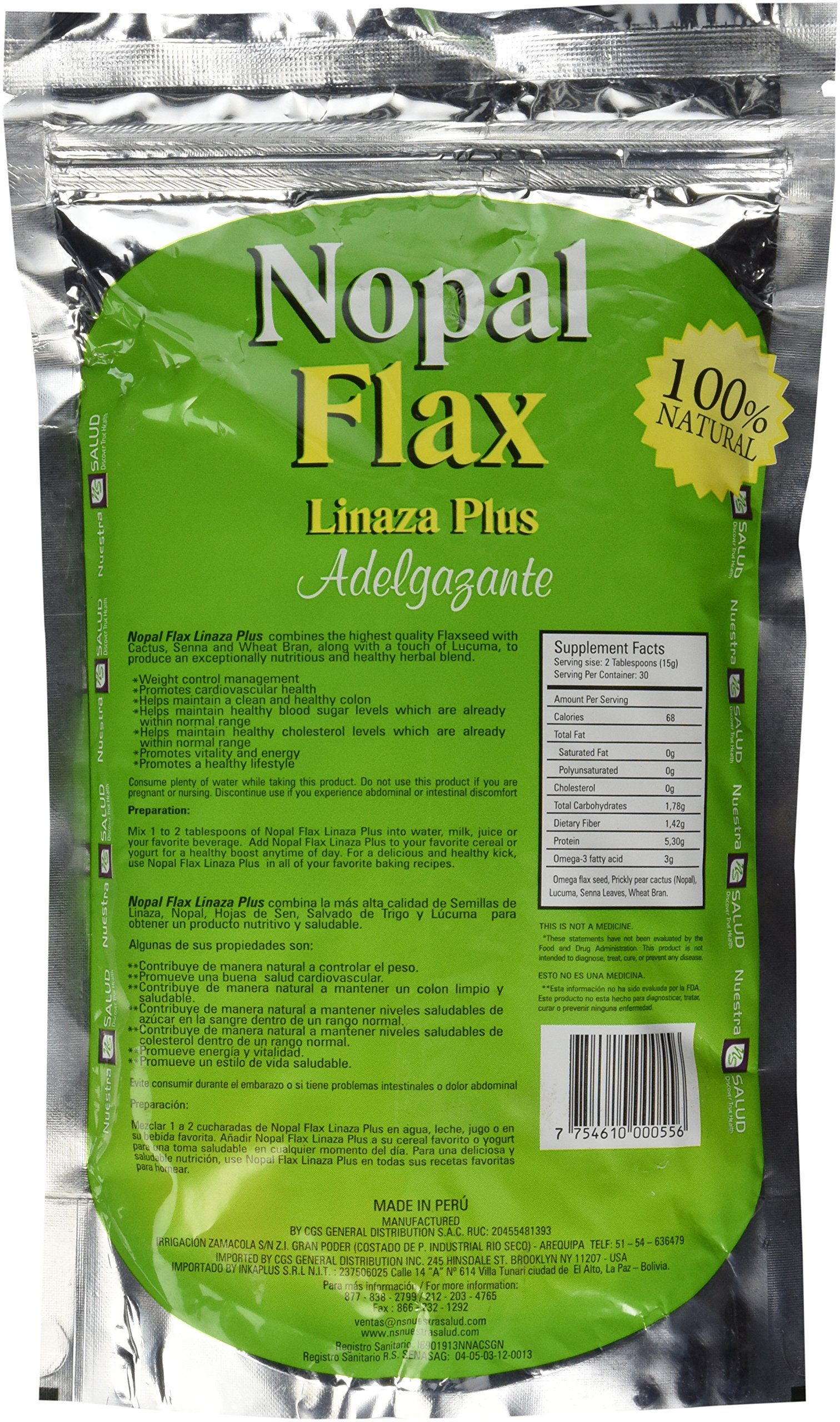 Nopal Flax Linaza Plus Adelgazante454 GR/1LB by Nuestra Salud (Image #4)