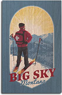 product image for Lantern Press Big Sky, Montana - Vintage Ski Patrol - Contour 102501 (10x15 Wood Wall Sign, Wall Decor Ready to Hang)