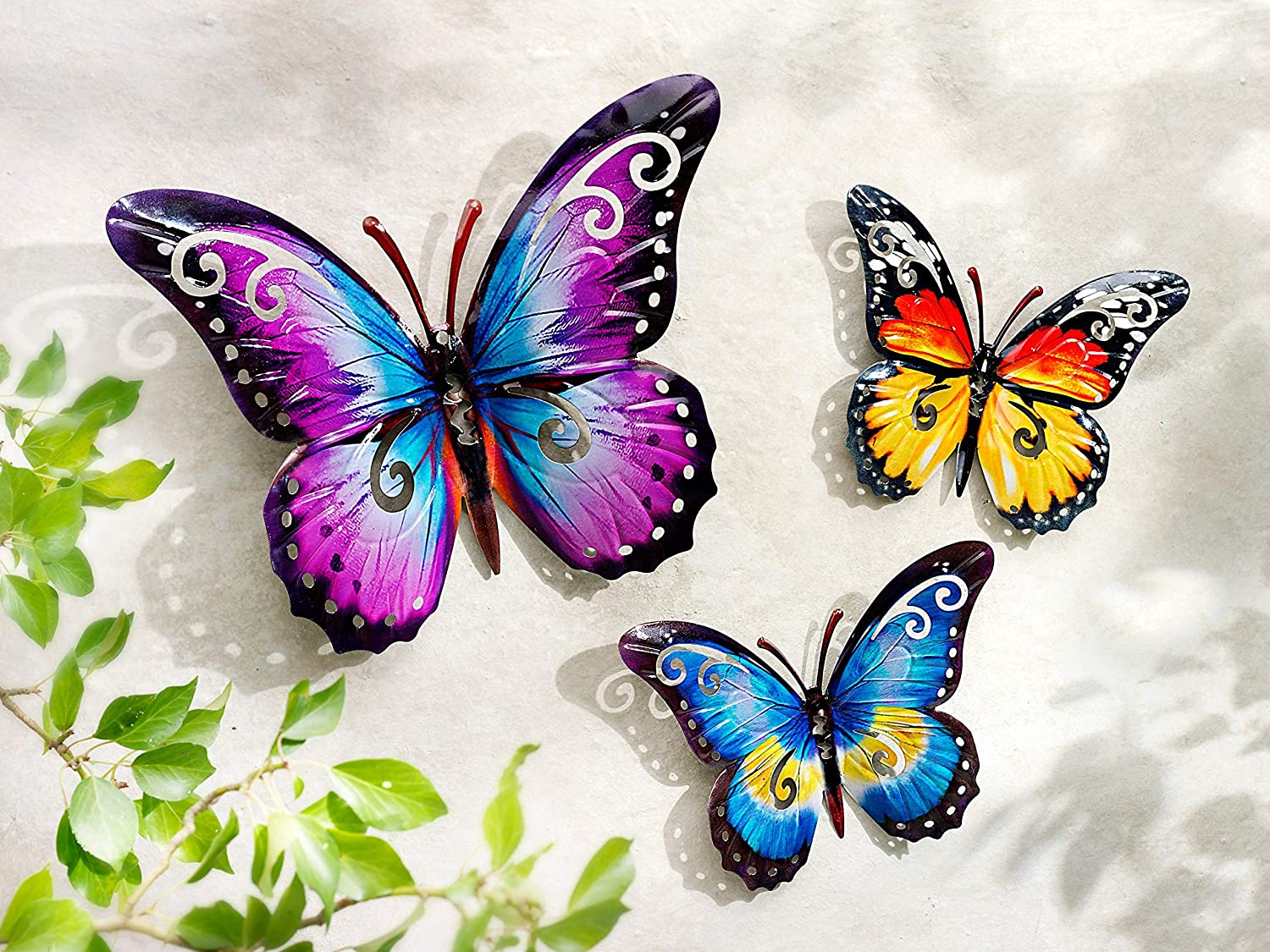 CT DISCOUNT STORE Nature Inspired 3 D Metal Wall Scupture Beautiful Butterflies Trio Home Decor Accent (3D Colorful Butterfly Trio)