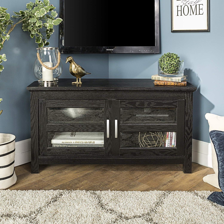 Walker Edison Furniture Cordoba Corner TV Stand, Wood, Black, 44-Inch AZ44CCRBL