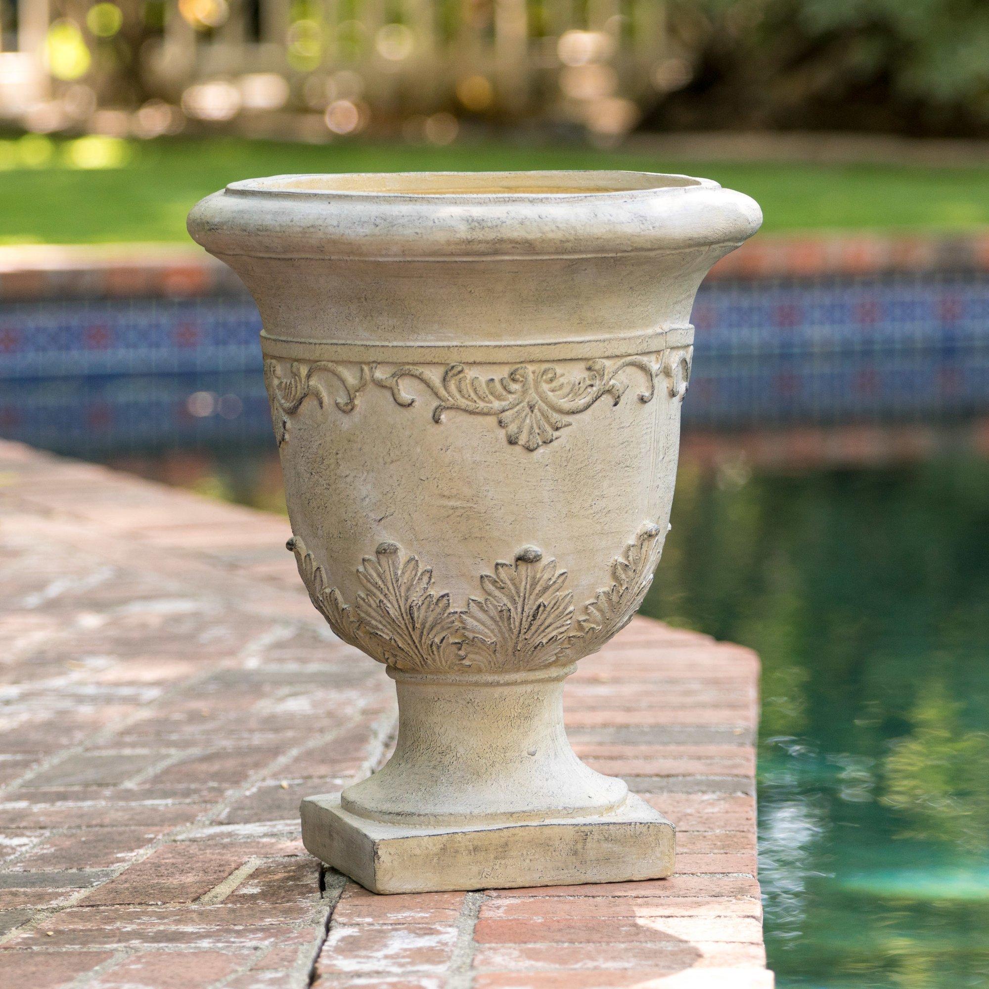 Outdoor Urn Stone Planter 20'' Lawn Garden Patio Indoor Decoration Flower Plant Pot