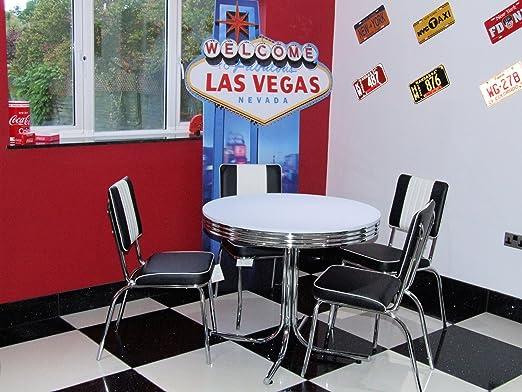Ensemble table et 4 chaises style rétro diner américain