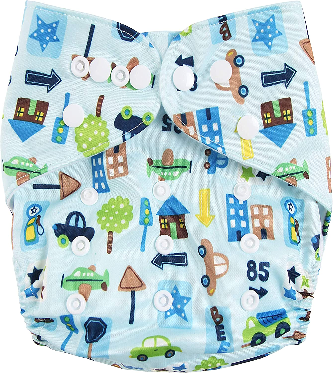 Banana Monkey Soft Complete with 6 x 3-Layer Bamboo Machine Washable Insert Pads Wave Reusable Adjustable Washable Double Row Nappy