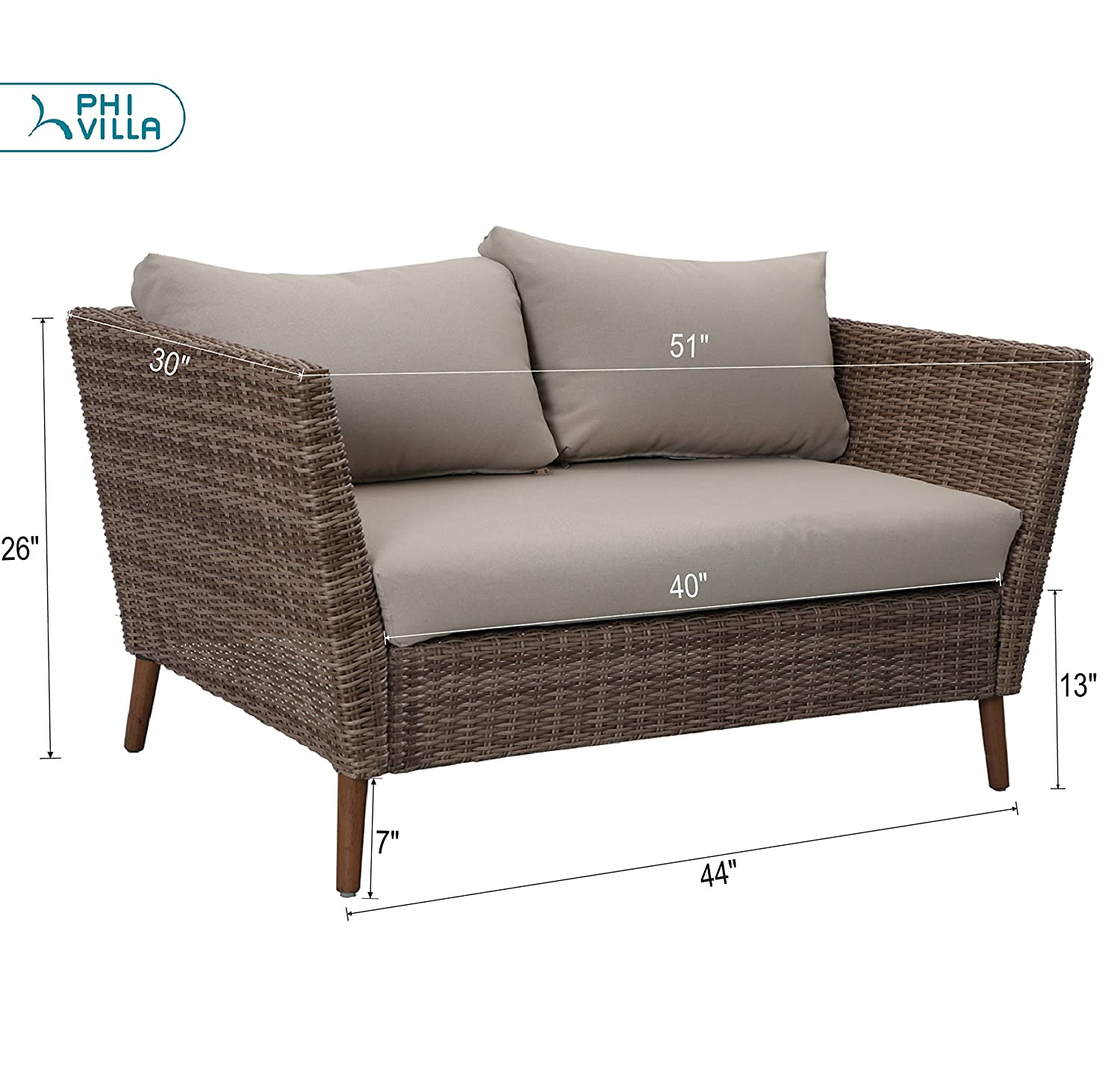 PHI VILLA 5 Piece Outdoor Patio Gradual Changing Color Rattan Wicker Sofa Chairs,Loveseat,Coffee Table Sectional Furniture Set with Cushion and Throw Pillows