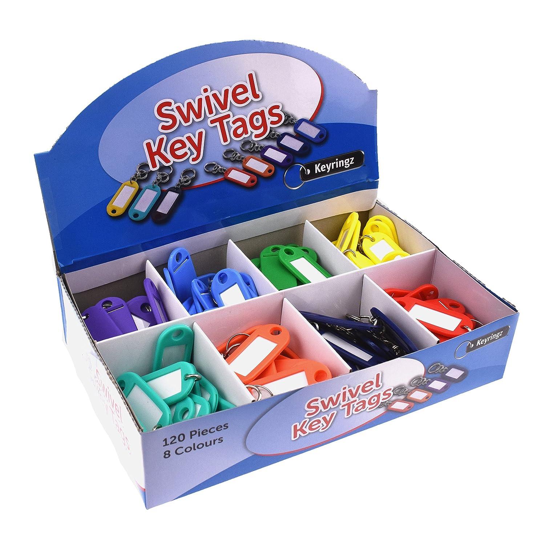 120/unit/à multicolore girevole portachiavi con targhetta in Counter box