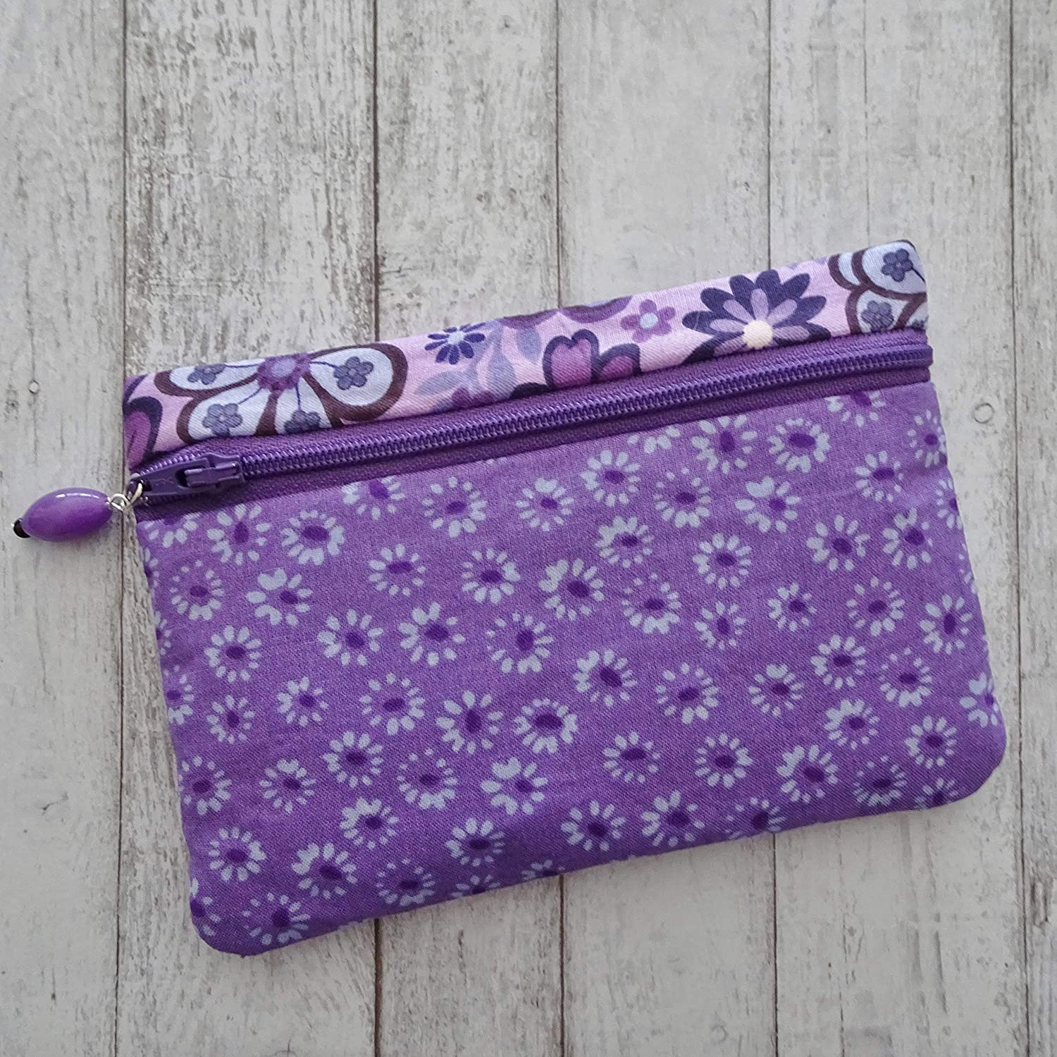 Handmade small zipper purse zippered pouch cotton for knitting crochet notions  accessories pencil case 8.5 x 5.5  *Night of Owls*