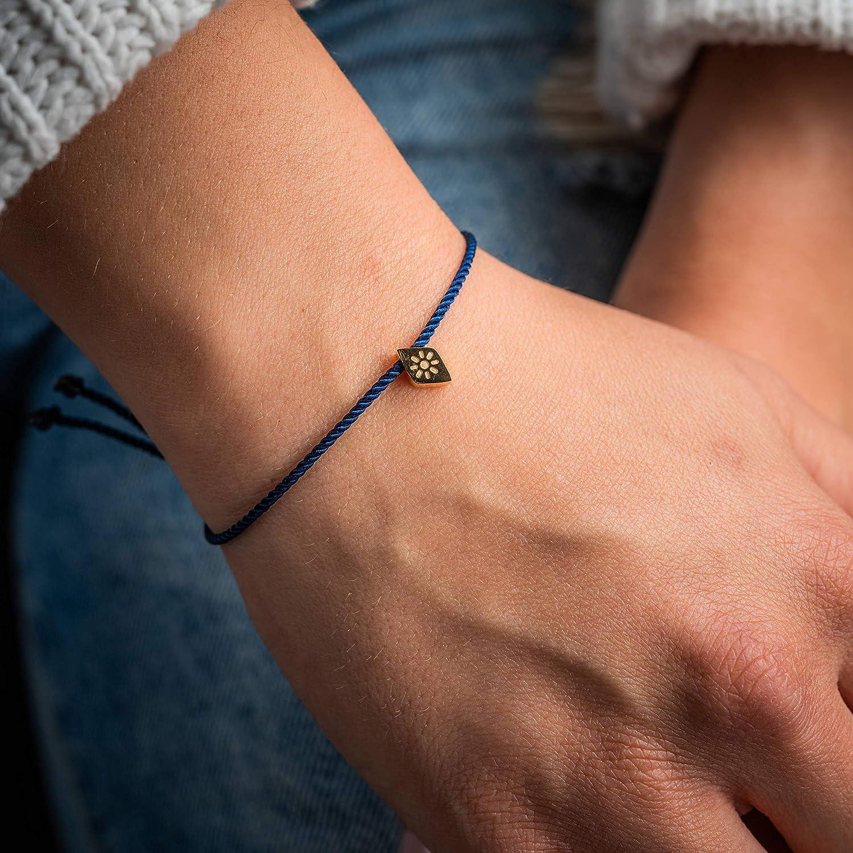 Made by Nami Filigranes Kordel-Armband mit Anh/änger Blau Sonnen-Blume Auge-Armband Gr/ö/ßenverstellbar Gl/ücksbringer Armband Freundschaftsarmb/änder Geburtstagsgeschenk beste Freundin