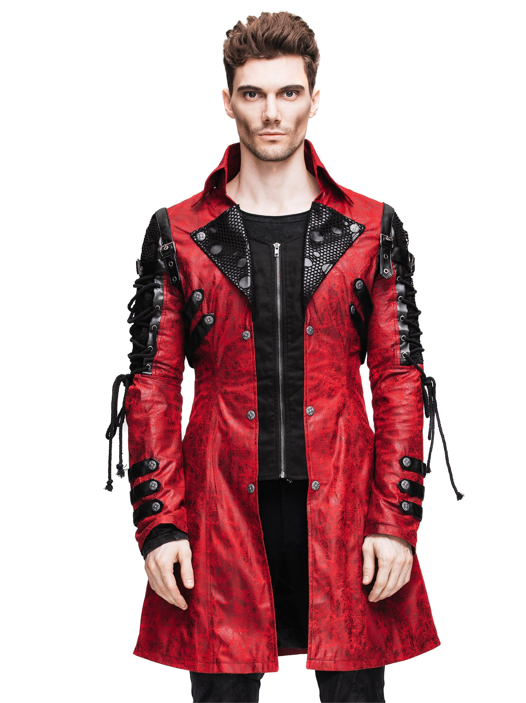 Steampunk Coat Gothic Clothing Cyberpunk Punk Jacket Coat Renaissance Costume (L)