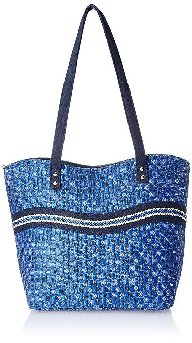 Womaniya Women's Handbag (Blue) (Handicraft Jute Bag)