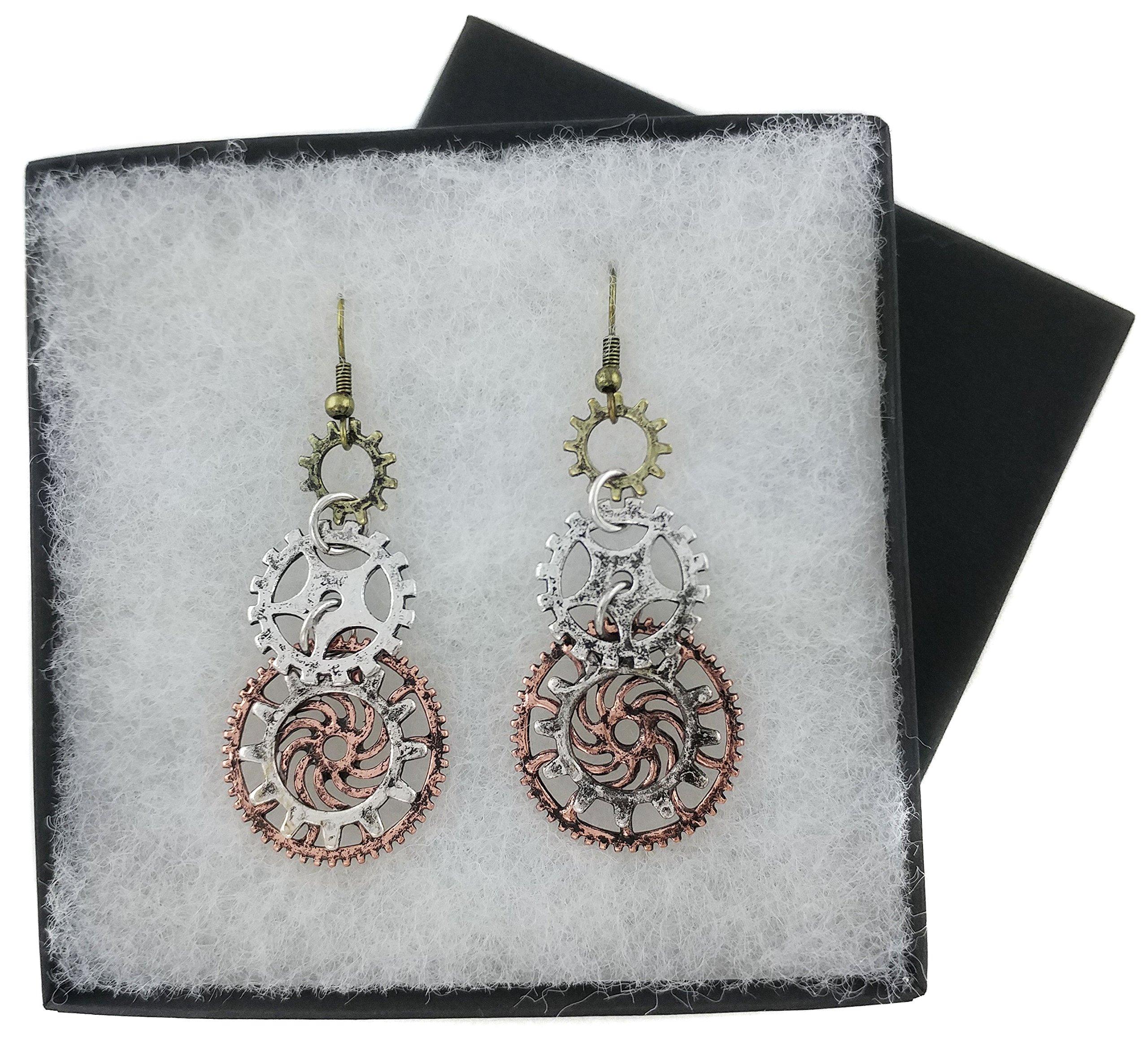 Women's Steampunk Earrings for sensitive ears | Triple Clock Wheel Gear Mixed Tone 5
