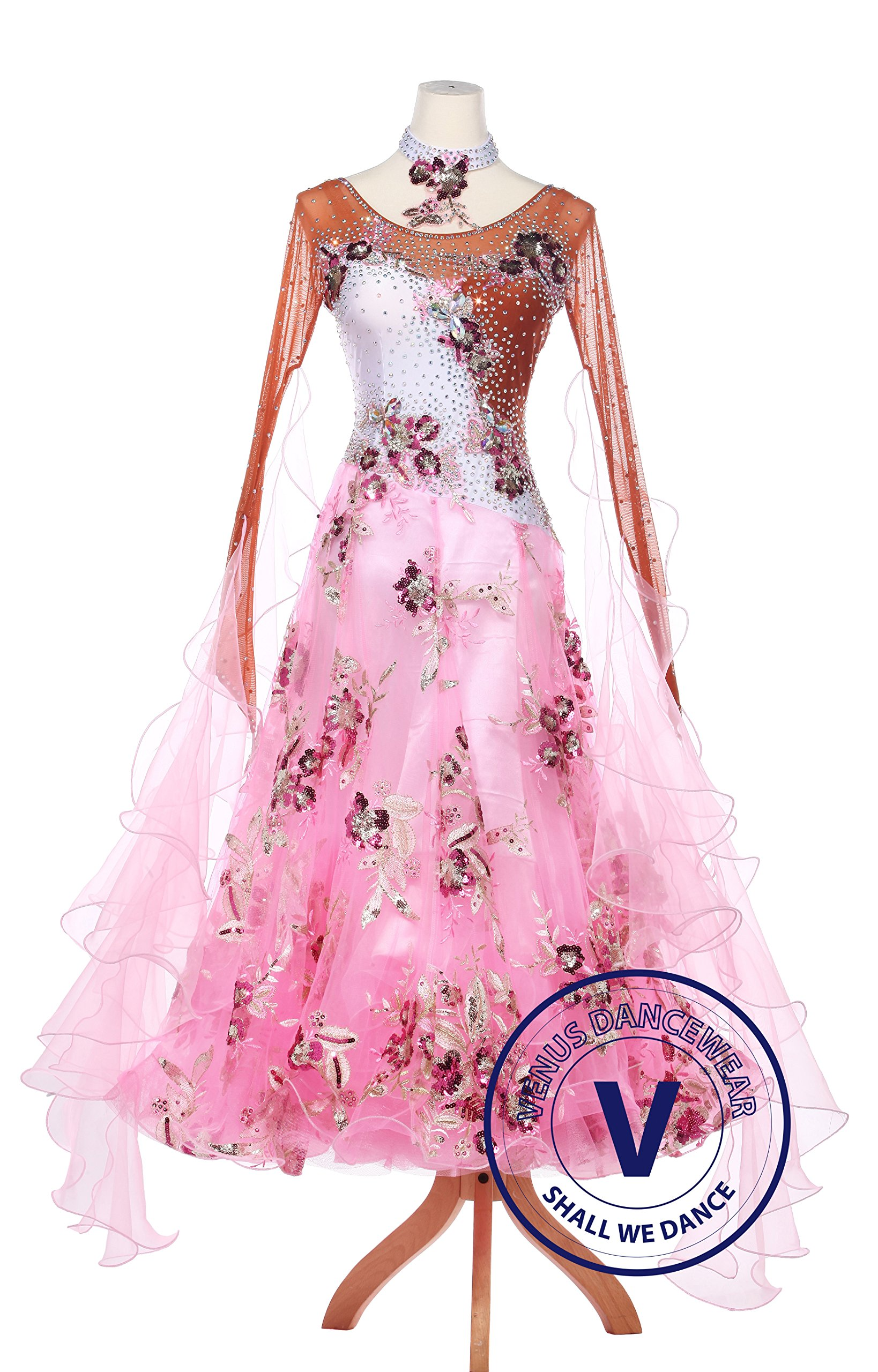 Honey Peach Ballroom Competition Women Dress Standard Waltz Smooth Foxtrot by Venus Dancewear
