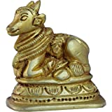 Metaldecor Nandi (Bull) Statue Made Of Brass / Handmade Brass Murti Handicrafts / Unique For Gift And Home And Office Decoration And Temple Worship