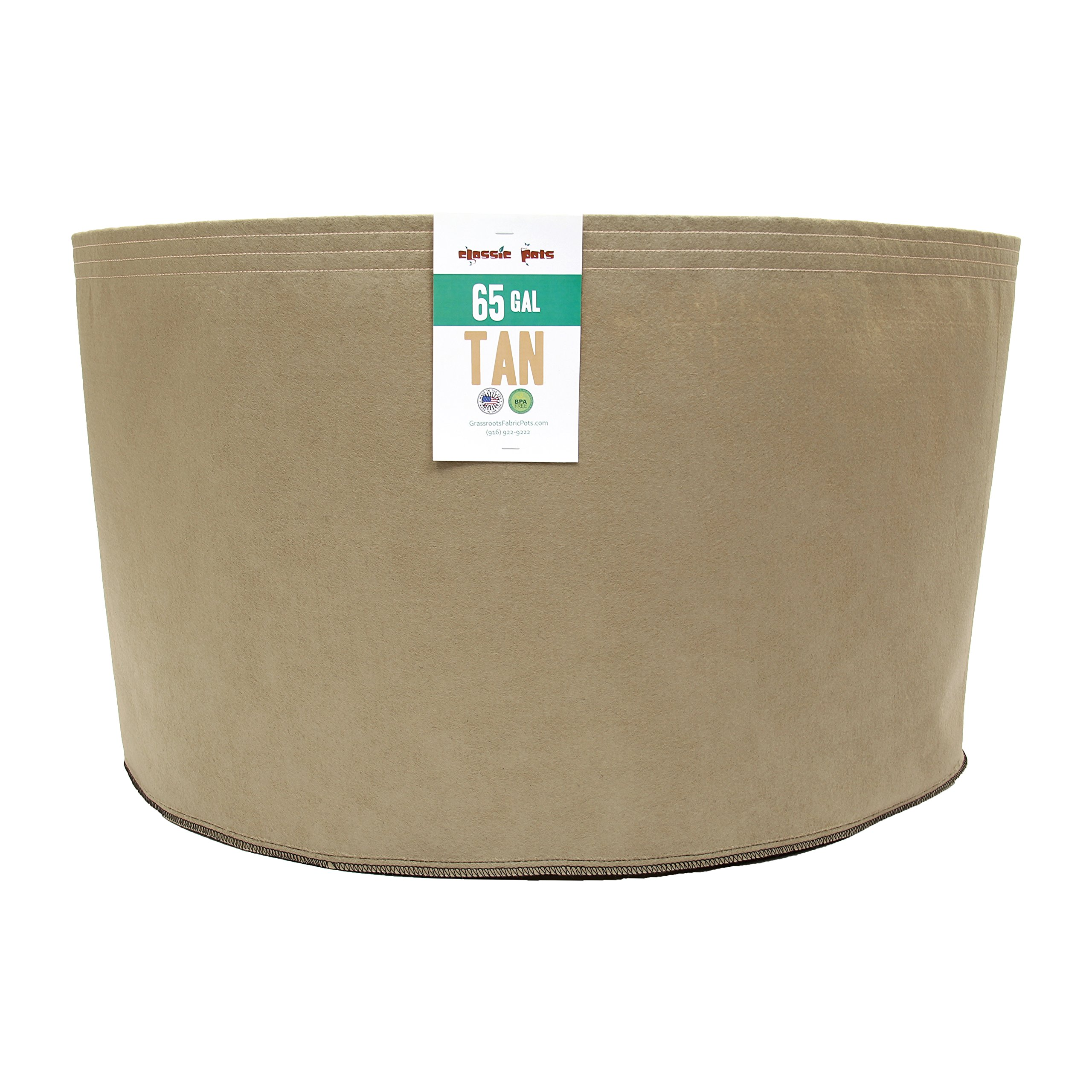 (10 Pack) 65 Gallon Tan Grassroots Fabric Pot - Grow Pot and Aeration Container by Grassroots Fabric Pots