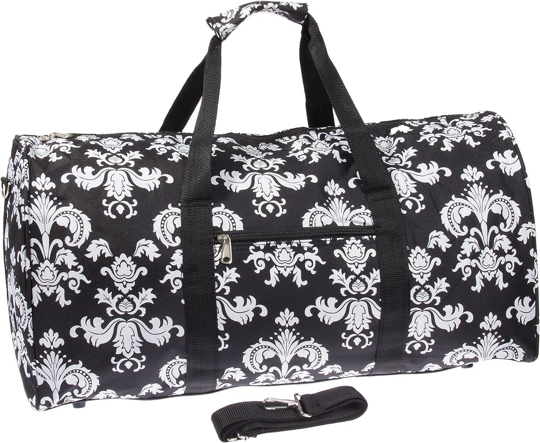 Damask ll Print 22 Luggage Duffle Bag Black White