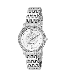 Buccachi Analouge White Dial Water Resistant Chain Strap Watches For Women/Girls (Silver)
