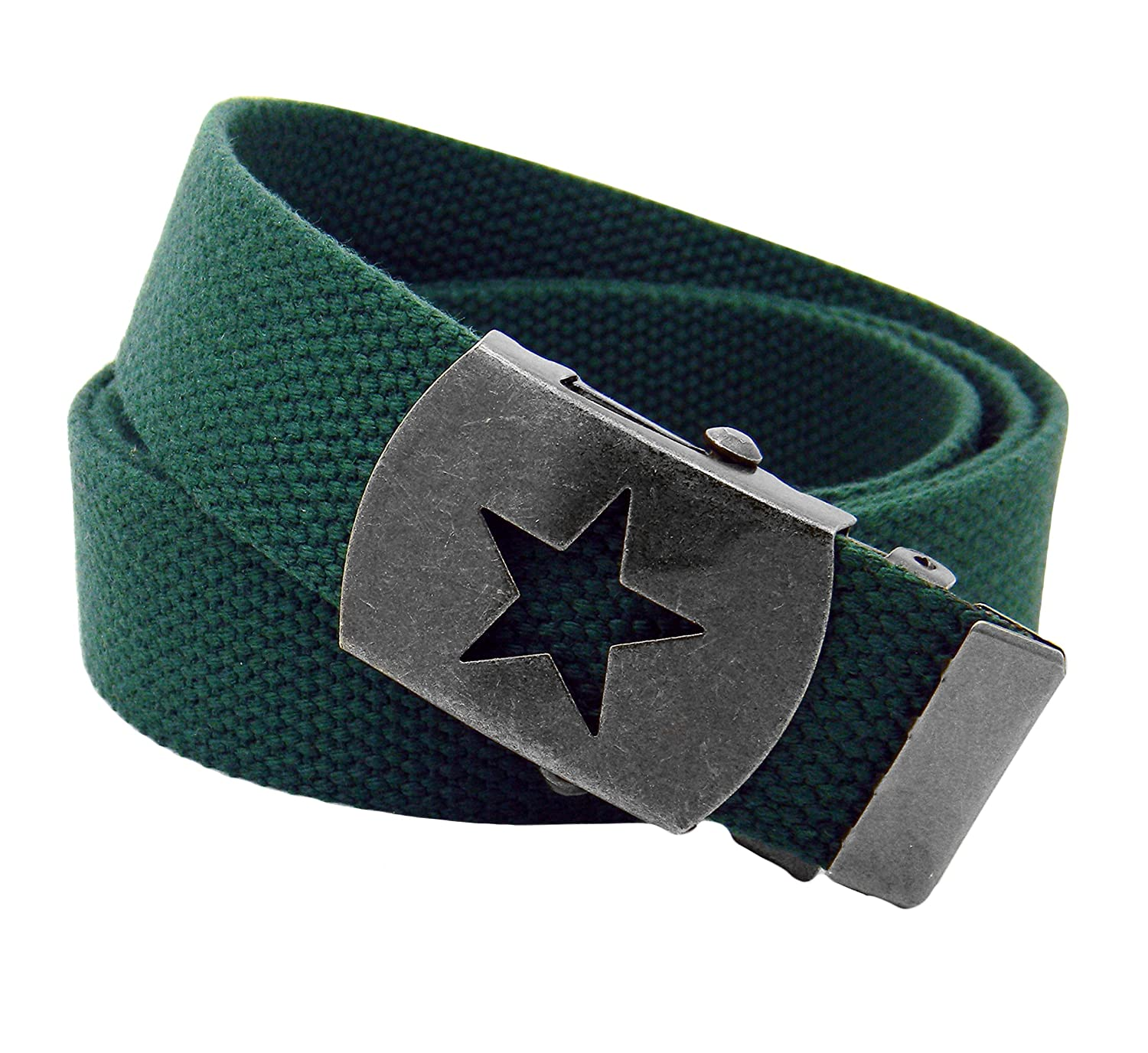 Boys Uniform Distressed Silver Star Slider Military Belt Buckle with Canvas Belt 9402-GM-$P