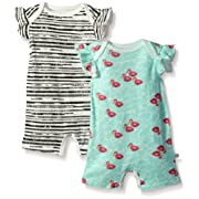 Rosie Pope Baby Girls' 2 Pack Short Coveralls, Aqua/Stripes, 6-9 Months