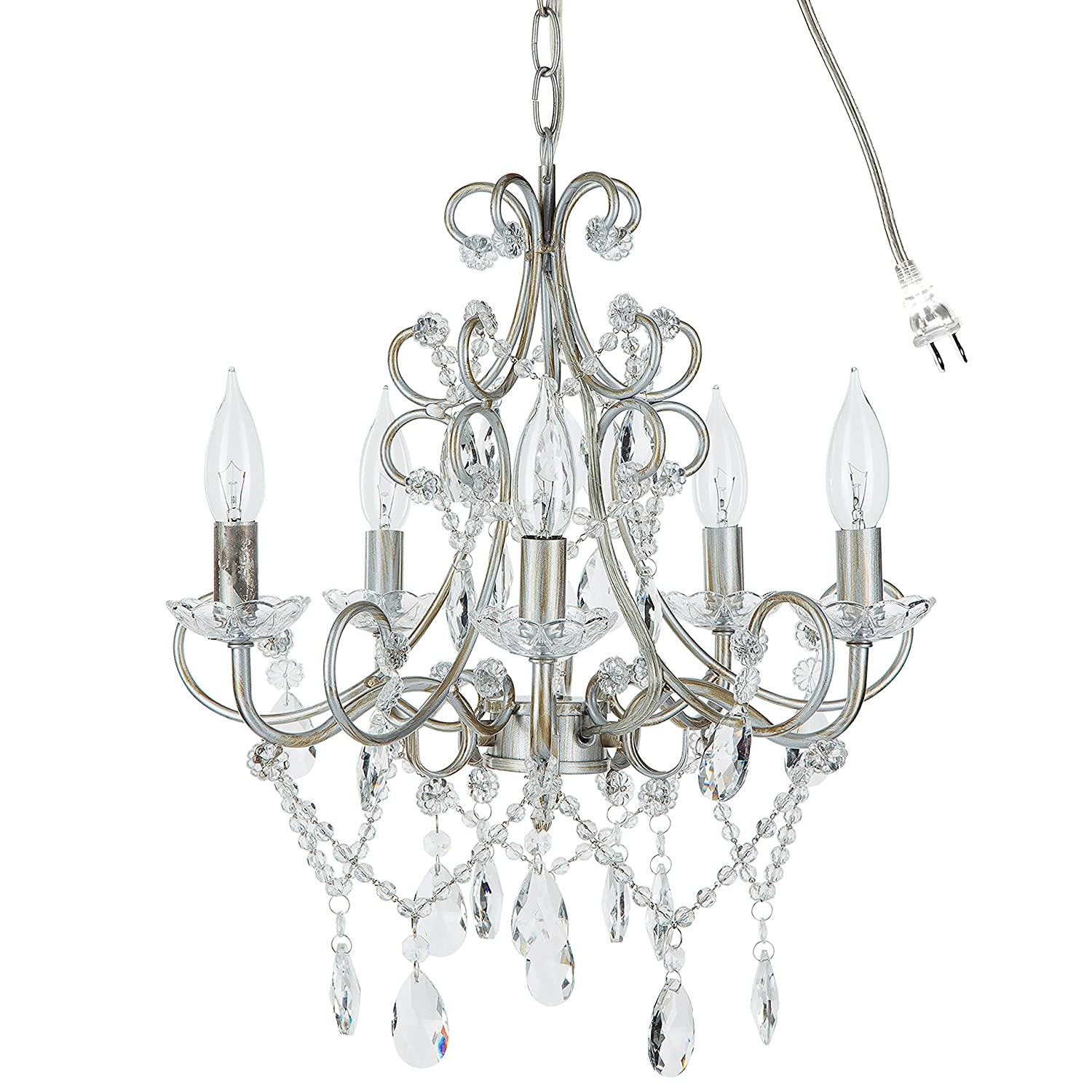 Theresa Vintage Silver Crystal Chandelier, 5 Light Swag Plug-In Glass Pendant Wrought Iron Ceiling Lighting Fixture Lamp