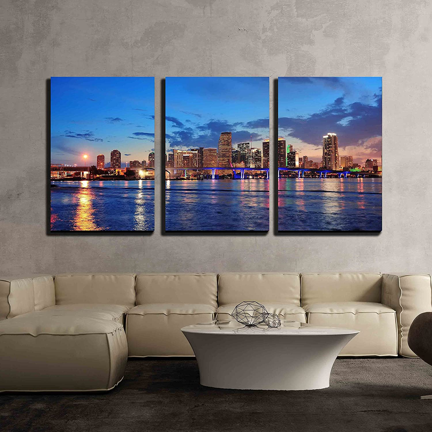 3 Piece Canvas Wall Art - Miami City Skyline Panorama at Dusk with Urban Skyscrapers and Bridge Over Sea - Modern Home Art Stretched and Framed Ready to Hang - 24