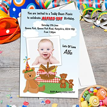 10 personalised teddy bears picnic birthday party photo invitations 10 personalised teddy bears picnic birthday party photo invitations n102 filmwisefo