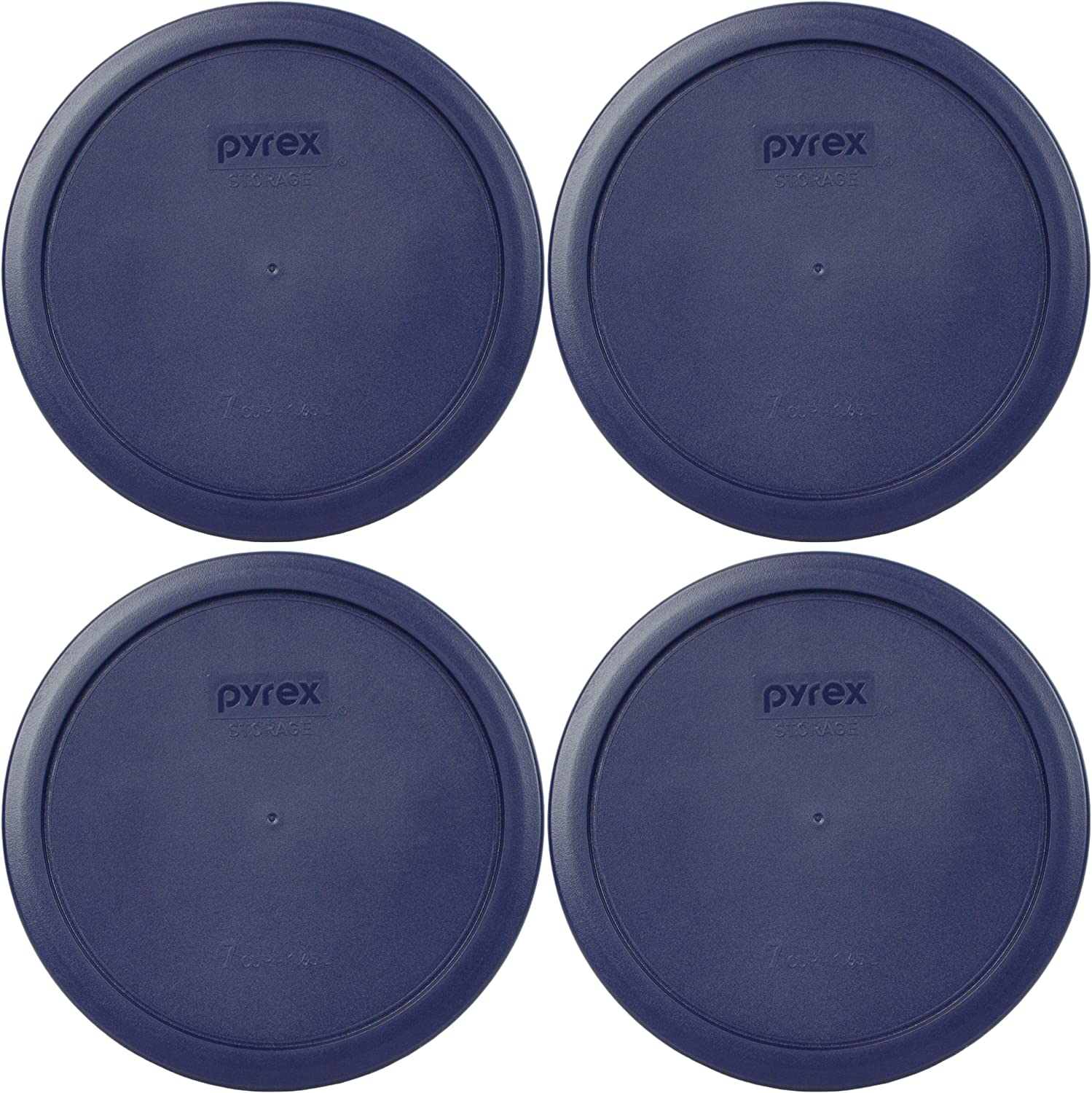 Pyrex 7402-PC 6/7 Cup Blue Round Plastic Food Storage Lid - 4 Pack