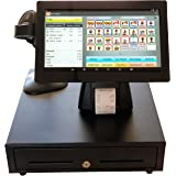 POS Point of Sale Retail System with Large 14 inch Touch Screen Tablet, Bar Code Scanner, Online Reporting and Inventory Management. Easier to Use Than a Push Button Cash Register.