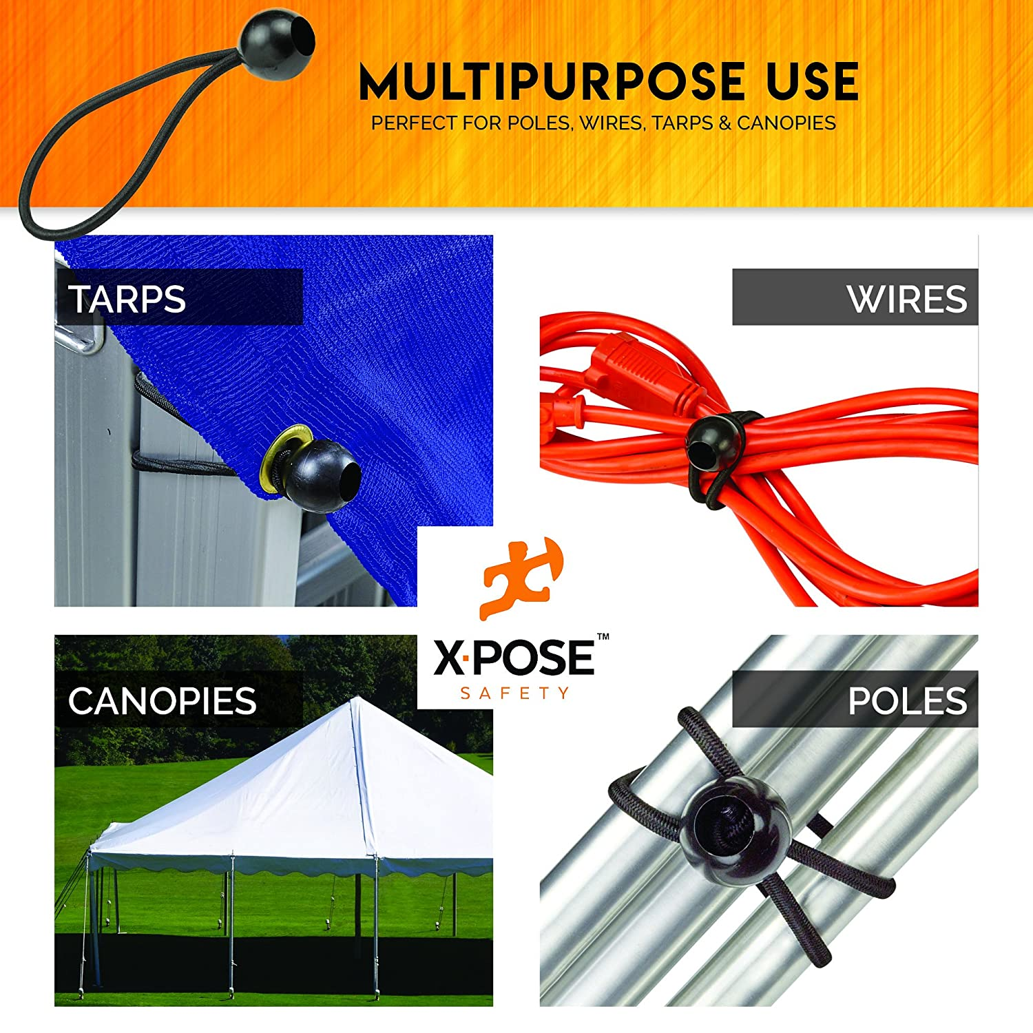 """Cable Organization Tarps Heavy Duty Black Stretch Rope with Ball Ties for Canopies 11/"""" 10 Pack Xpose Safety Bungee Ball Cords Walls"""