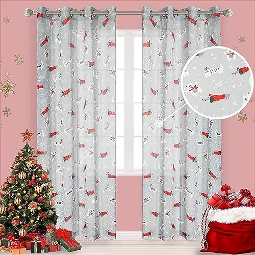 LORDTEX Cat Dog Print Christmas Sheer Curtains