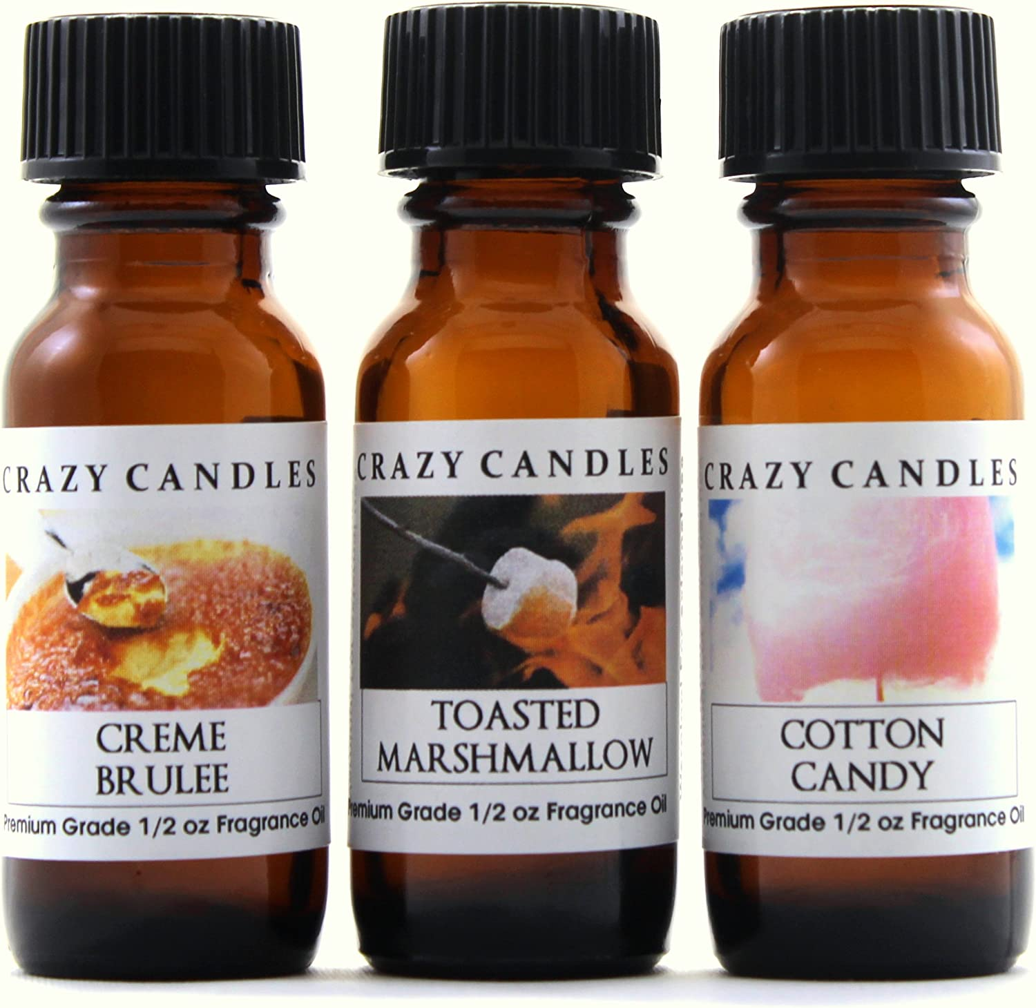 Crazy Candles 3 Bottles Set, 1 Creme Brulee, 1 Toasted Marshmallow, 1 Cotton Candy 1/2 Fl Oz Each (15ml) Premium Grade Scented Fragrance Oils