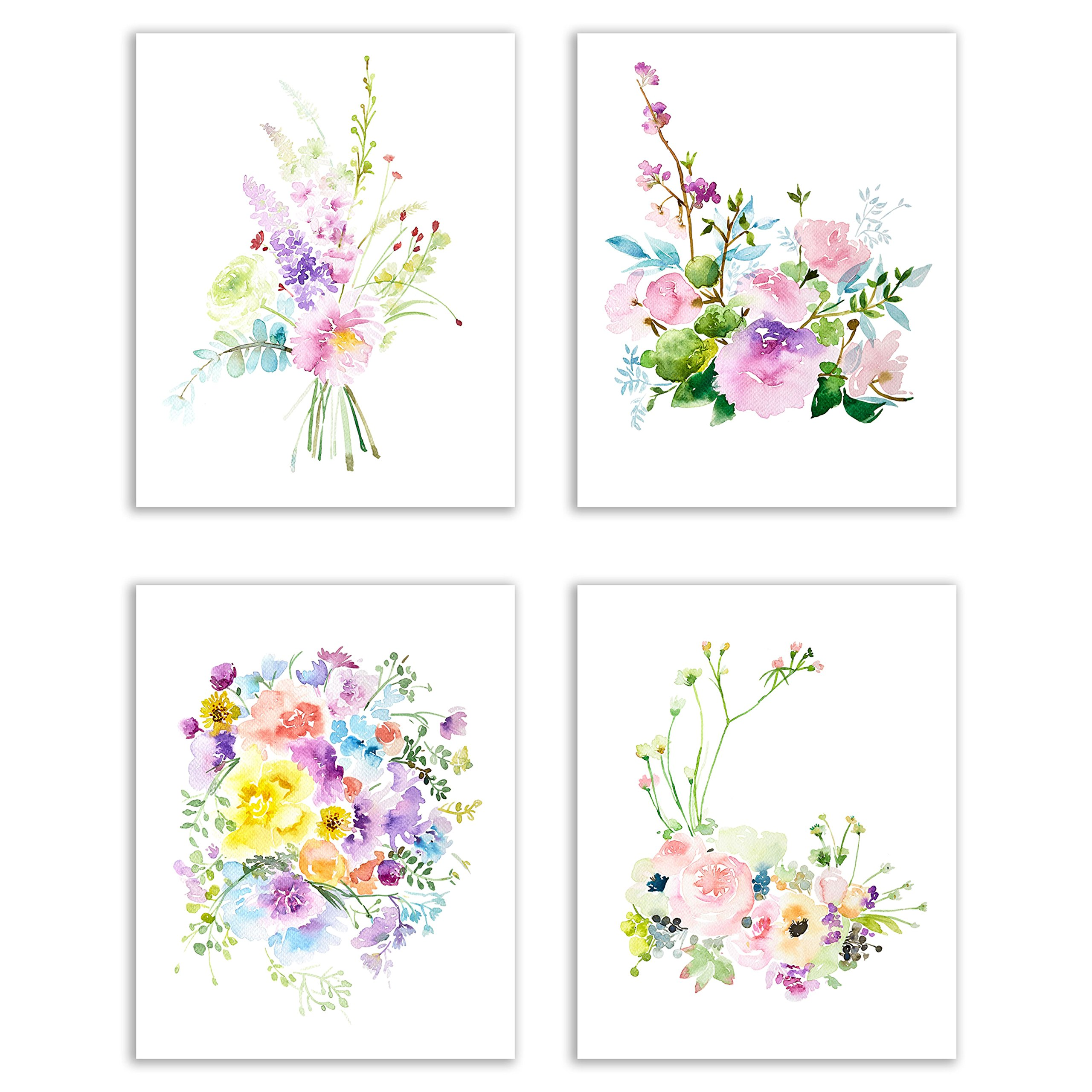 Floral Watercolor Pastel Fine Art Prints — Set of Four 8x10 Photos of Roses, Peonies, Lilacs, Dahlias, Cherry Blossoms and Delphiniums by Tangible Prints