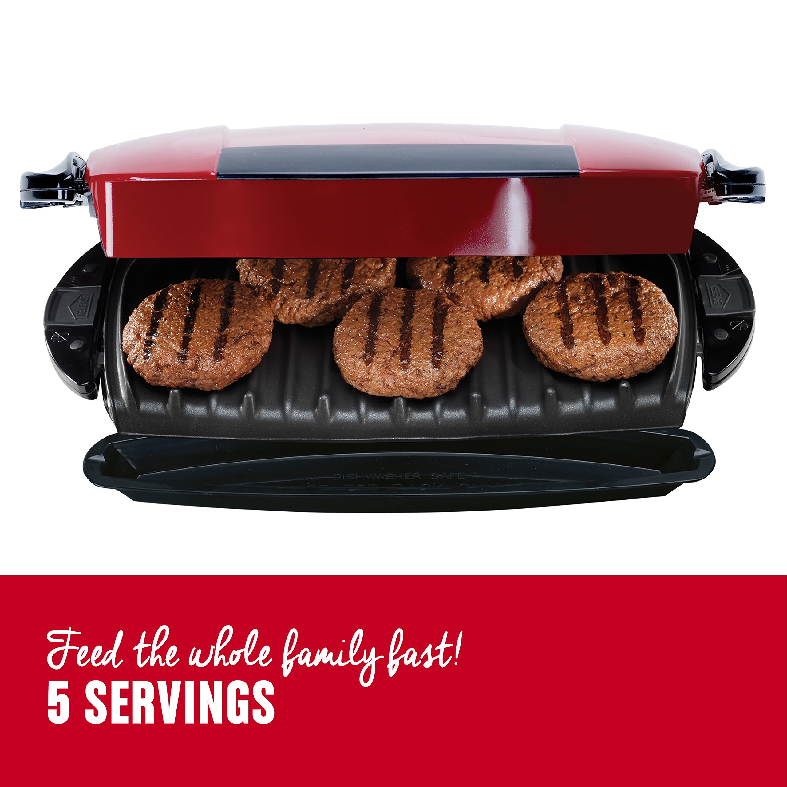George Foreman 5-Serving Removable Plate Electric Indoor Grill and Panini Press, Red, GRP0004R by George Foreman (Image #3)