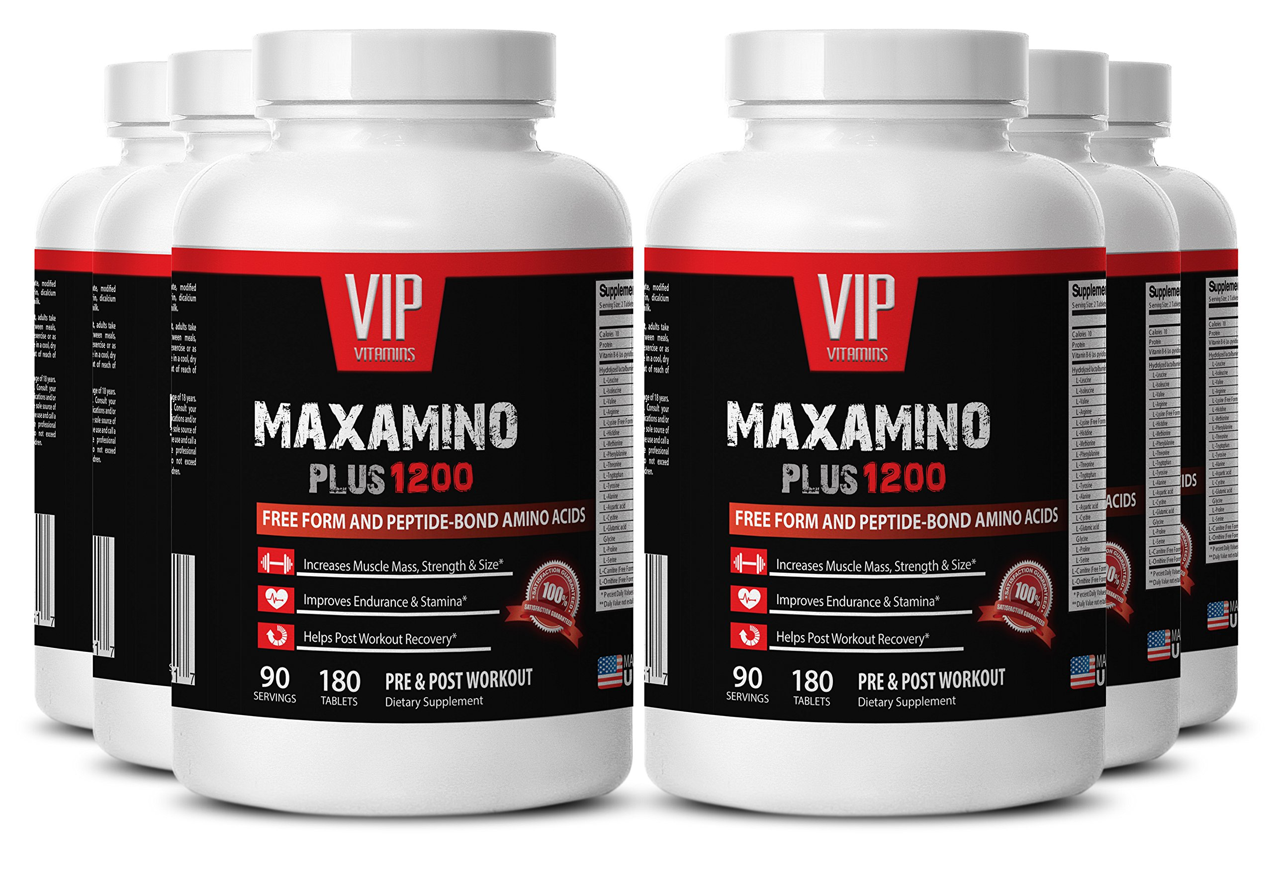 Pre workout for men weight loss - MAXAMINO PLUS 1200 - Bodybuilding supplements for men muscle grow - 6 Bottles 1080 Tablets by VIP VITAMINS
