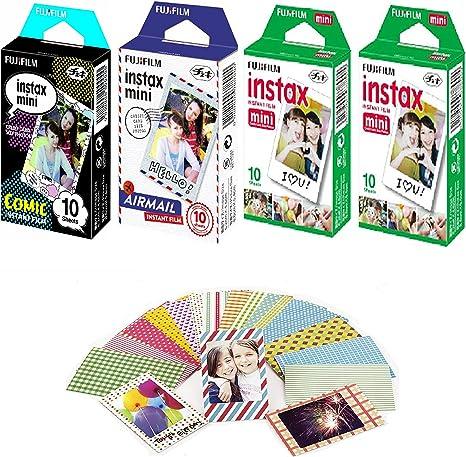 Fujifilm Instax Mini película instantánea comic-10 Pack + airmail-10 Pack + White-20 unidades con Bono 20 – Adhesivos decorativos skin adhesivo variedad Kit de diseño de fotos de -40 total: Amazon.es: Electrónica