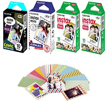 Fujifilm Instax Mini Instant Film Comic 10 Pack Airmail White