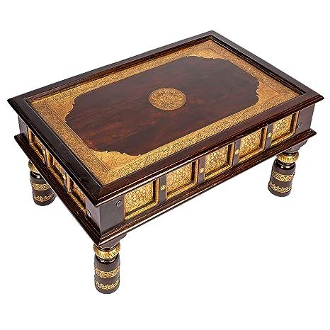 Marokkanischer Wohnzimmertisch Couchtisch aus Holz massiv Sunita 90cm |  Vintage Tisch aus Massivholz mit Messing verziert für Ihre Wohnzimmer | ...