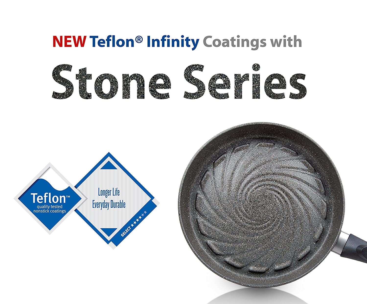 TECHEF Infinity Collection Teflon Coated Grill Pan with Ceramic Particles, 12 , Stone