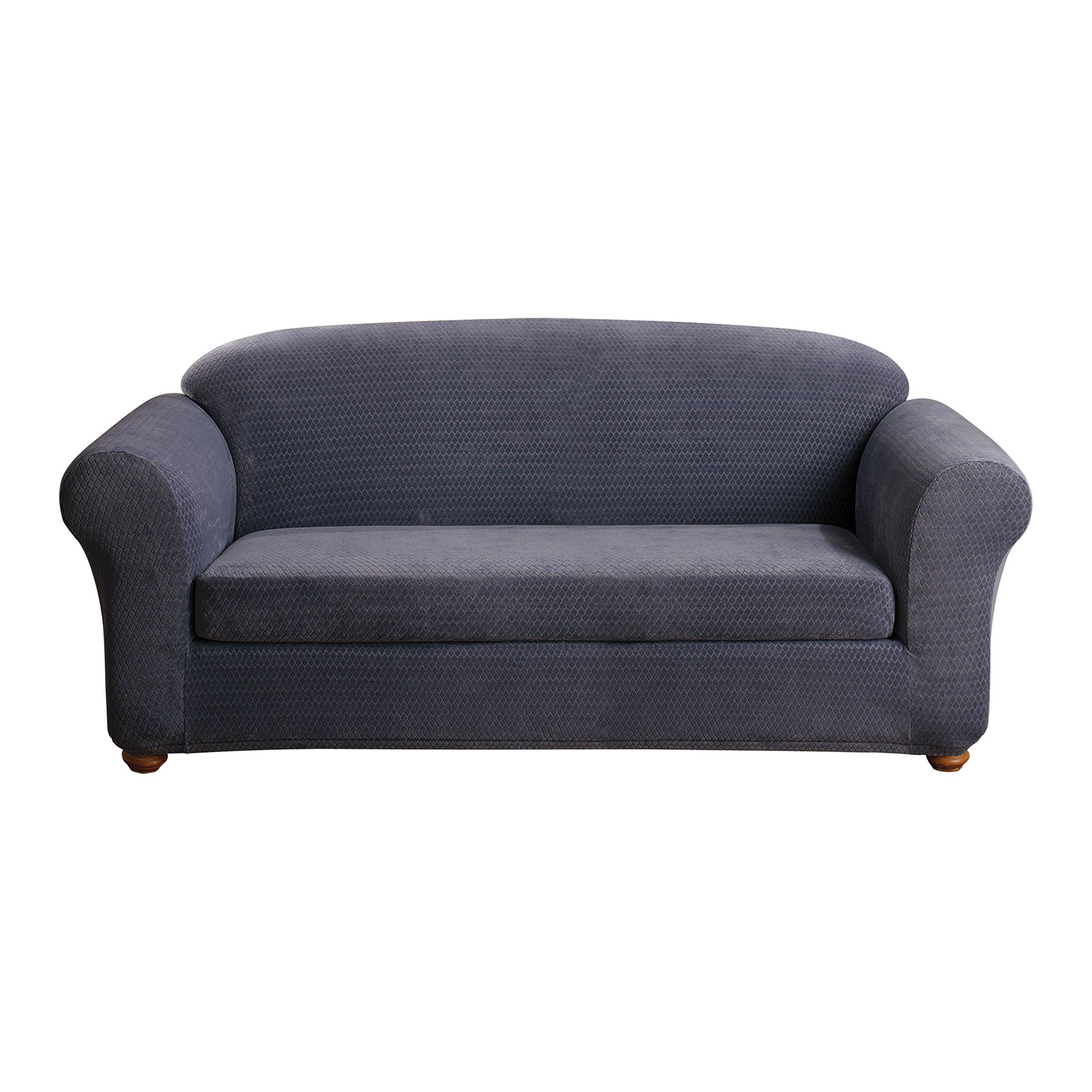 Sure Fit Stretch Royal Diamond 2-Piece - Sofa Slipcover  - Storm Blue (SF43408)