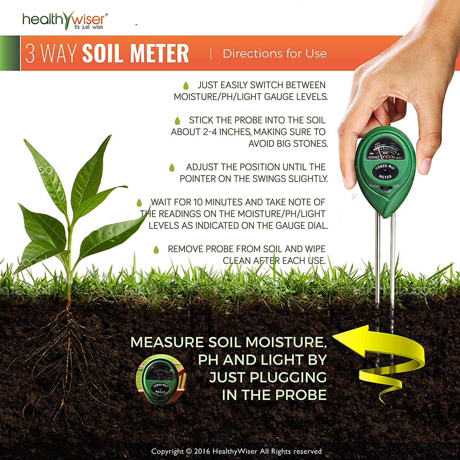 Garden home kit ph tester - Amazon Com Soil Ph Meter 3 In 1 Soil Test Kit For Moisture Light Ph A Must Have For Home And Garden Lawn Farm Plants Herbs Gardening Tools