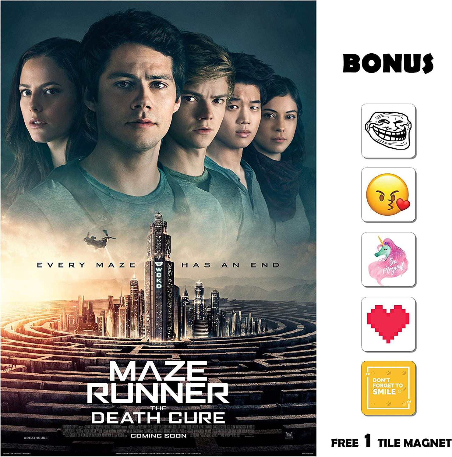 Amazon Com Movie Poster Maze Runner The Death Cure 2018 End 13 In X 19 In Flyer Borderless Free 1 Tile Magnet Posters Prints