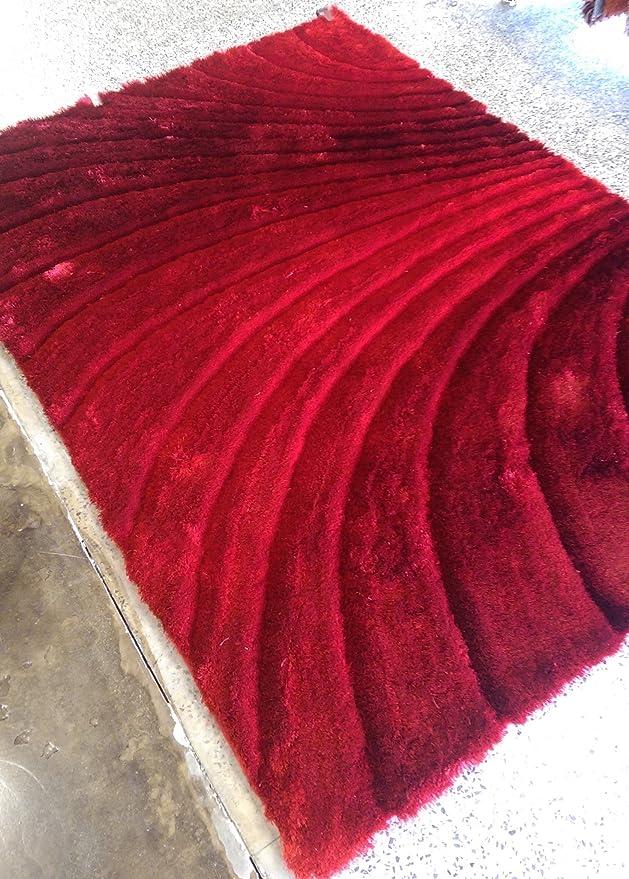Amazon.com: RUGADDICTION Hermosa Alfombra Color Rojo hecha a mano estilo moderno suave y lujosa , gruesa pila de tamaño 60