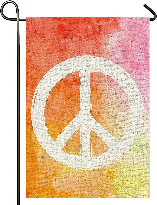 Atenia Peace Burlap Garden Flag, Double Sided Peace and Love Sign Garden Outdoor Yard Flags (Garden Size - 12.5X18)