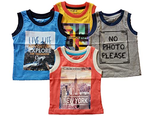 2cd4a325 Cucumber Sleeveless T-Shirt for Boys and Girls Size 0-3 Months Set of 4 T- Shirts: Amazon.in: Clothing & Accessories