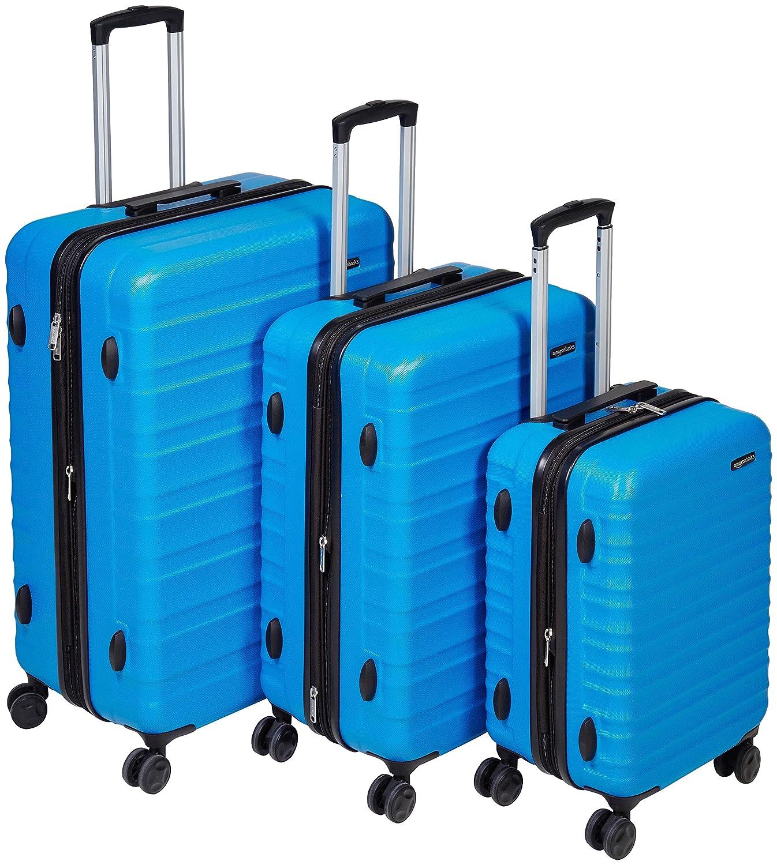 AmazonBasics Hardside Spinner Luggage - 3 Piece Set (20, 24, 28), Black 24 28) N989