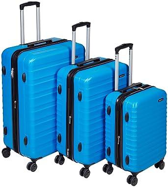 bbf2ddeed AmazonBasics 3 Piece Hardside Spinner Travel Luggage Suitcase Set - Blue
