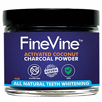 FineVine Organics All Natural Teeth Whitening Powder with Coconut Activated Charcoal